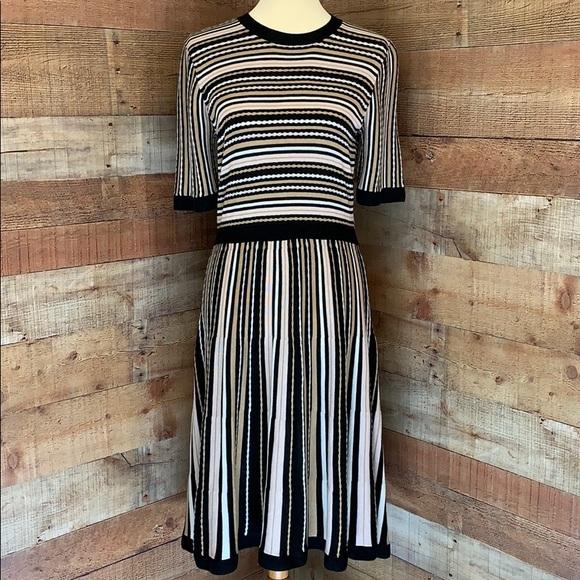 KATE SPADE Black & Tan Multi Stripe Sweater Dress